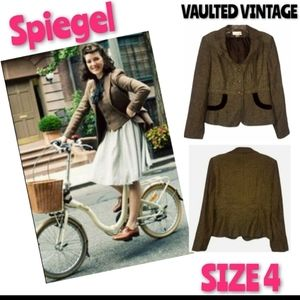 Spiegel Suit Tweed Jacket Brown Vintage Size 4